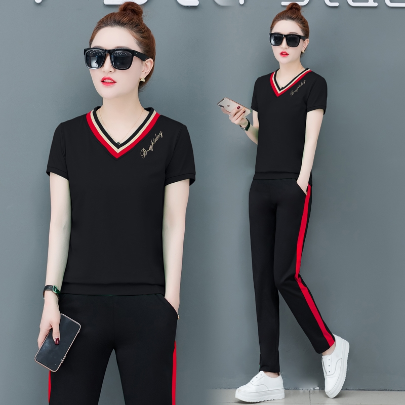 Summer set women Leisure Sporting suit set New V-neck women sets Large size womens tracksuit 2 piece set women pant and top 1251