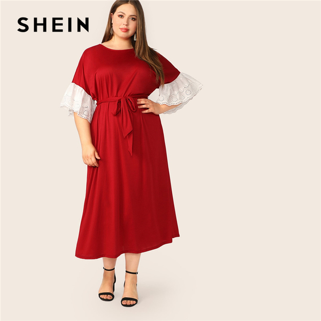 e92d0dfa27 SHEIN Plus Size Abaya Burgundy Contrast Embroidery Eyelet Cuff Belted Maxi Dress  Women Spring Summer Office Lady Elegant Dresses