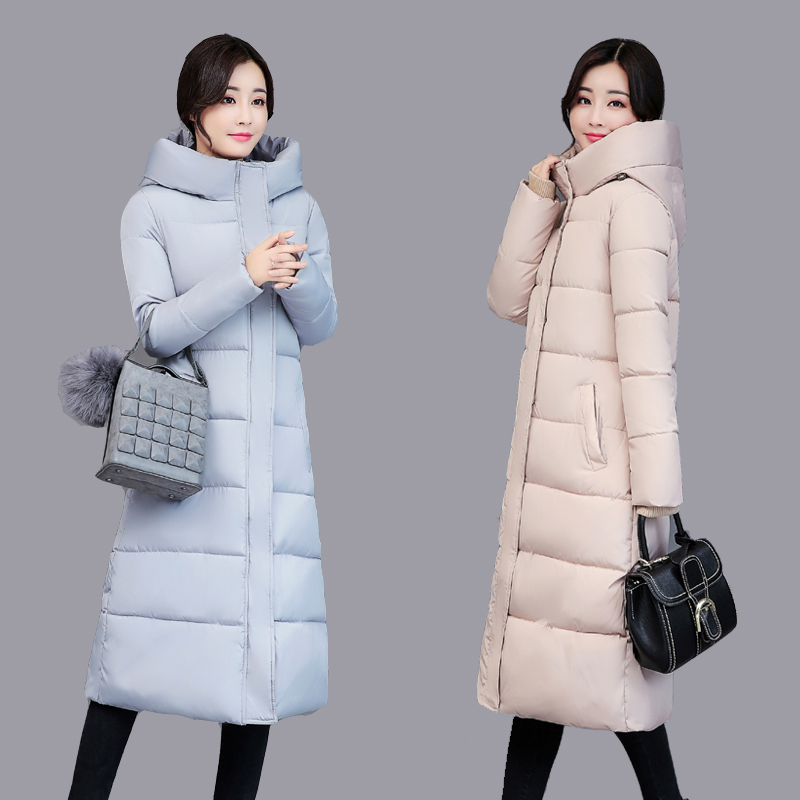 2017 Free Shipping New Autumn Winter Coat Jacket Slim Fashion Long Thick Padded Female Knee Down Slim Coats Women Wokr Wear Red 2017 free shipping new autumn winter long down big fur coat padded slim women fashion high street coats