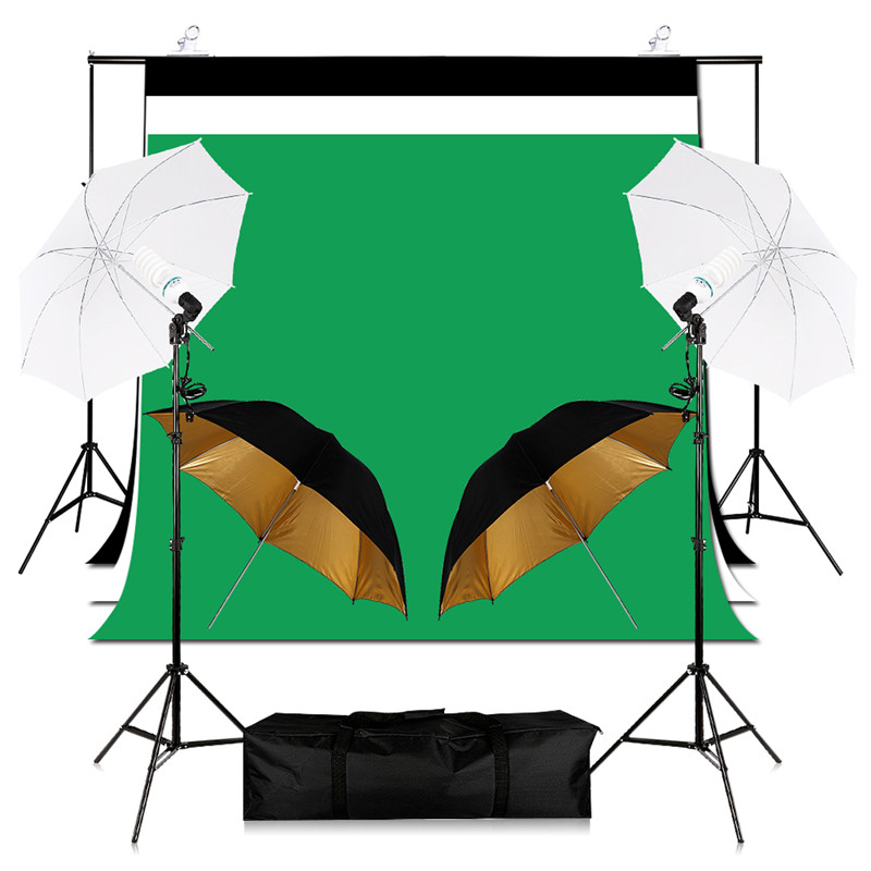Kits d'éclairage Studio Photo photographie Support de fond + ensemble parapluie photographie + porte-ampoule E27 + décors en coton