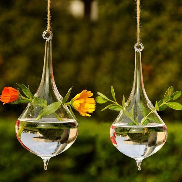 Clear Water Drop Glass Hanging Vase Bottle Terrarium Hydroponic