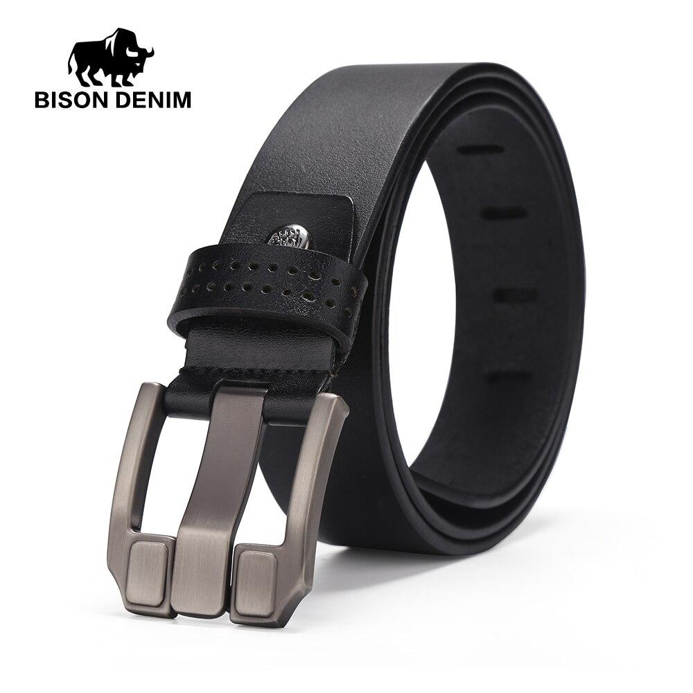 BISON DENIM Men Belts Vintage Top Genuine Leather Belt For Mens Cowhide Belts With Buckle Black