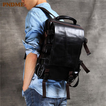 PNDME casual simple genuine leather mens backpack designer anti theft first layer travel bagpack luxury laptop bookbag
