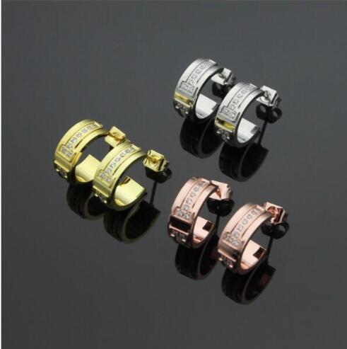 High Quality Jewelry Earrings Rose Gold Titanium Steel Carter Stud Earrings for Women Girls Crystal Oorbellen boucle doreille