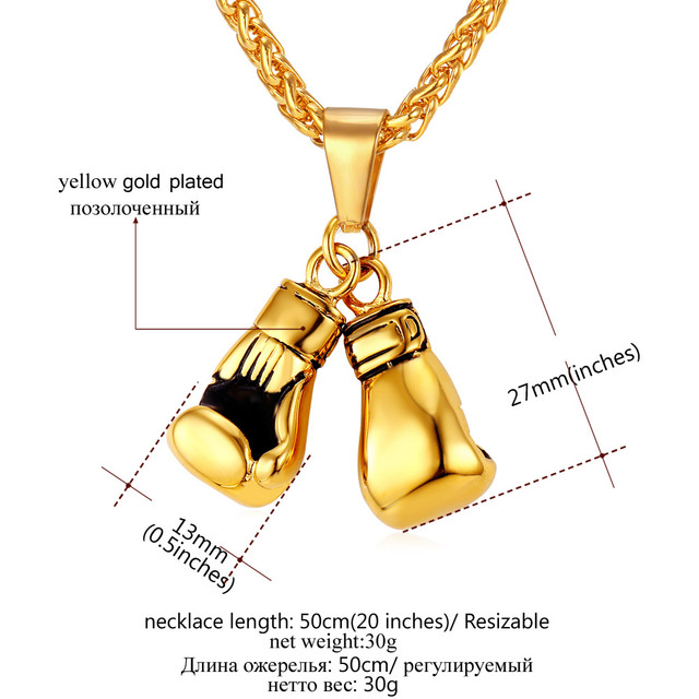 U7 Brand Men Necklace & Pendant Gold Plated Stainless Steel Chain Pair Boxing Glove Charm Fashion Sport Fitness Jewelry P856