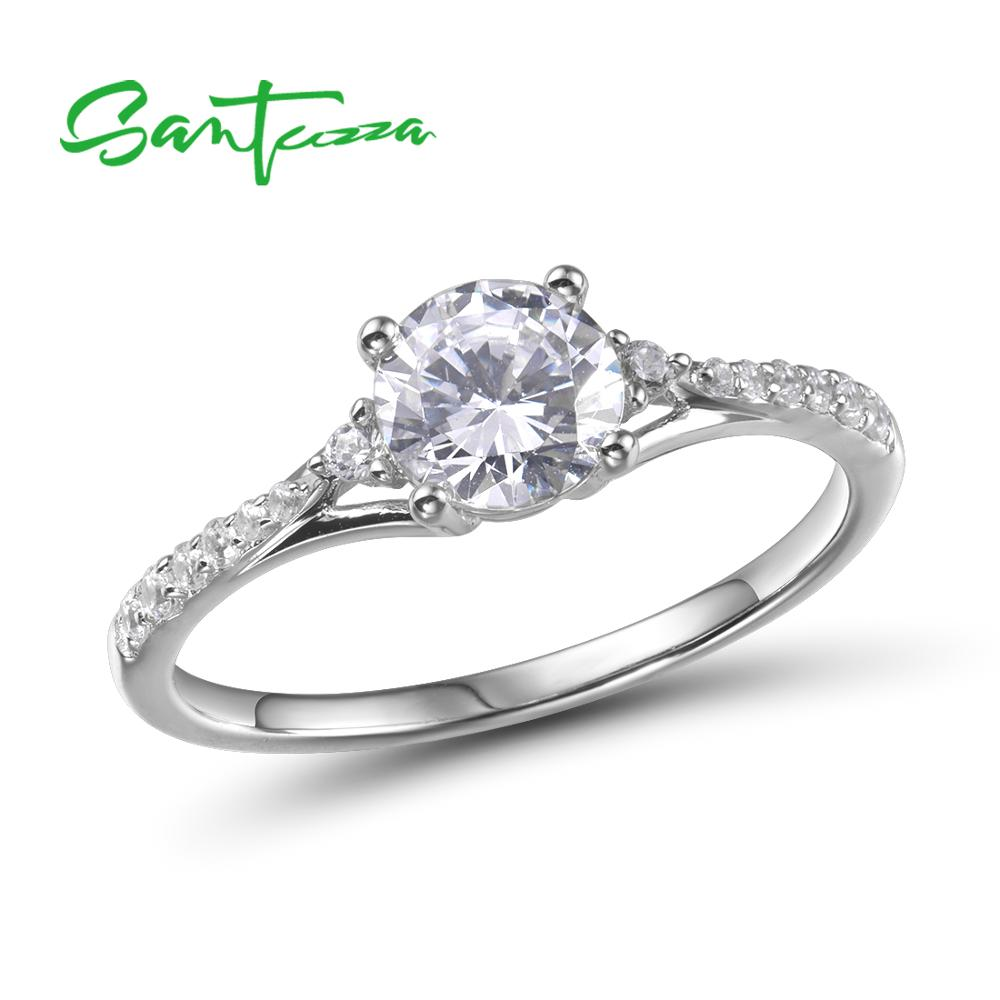 SANTUZZA Pure 925 Sterling Silver Rings For Women Sparkling White Cubic Zirconia Wedding Engagement Accessories Fine Jewelry
