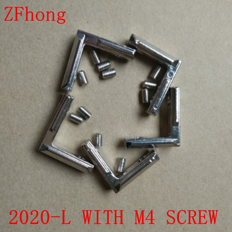 50pcs T Slot L Shape 2020 Aluminum Profile Interior Corner Connector Joint Bracket with screws Newest