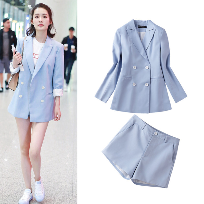 Spring 2019 Star Suit with The Same Suit, Cotton and Hemp Suit Jacket Women Jackets and Coats Button Notched Double Breasted
