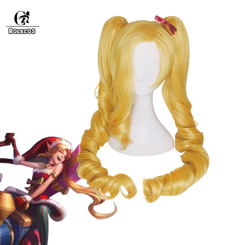 ROLECOS Jinx LOL Cosplay Christmas Rascal Jinx Synthetic Hair Cospaly Headwear Long Blonde Wave Synthetic Hair 100cm ...