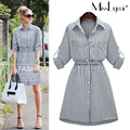 XXXL 4XL 5XL Plus Size Women Stripe Dress 2017 Spring Formal Style Fashion Single-breasted Long Sleeve Slim Casual Shirt Dress