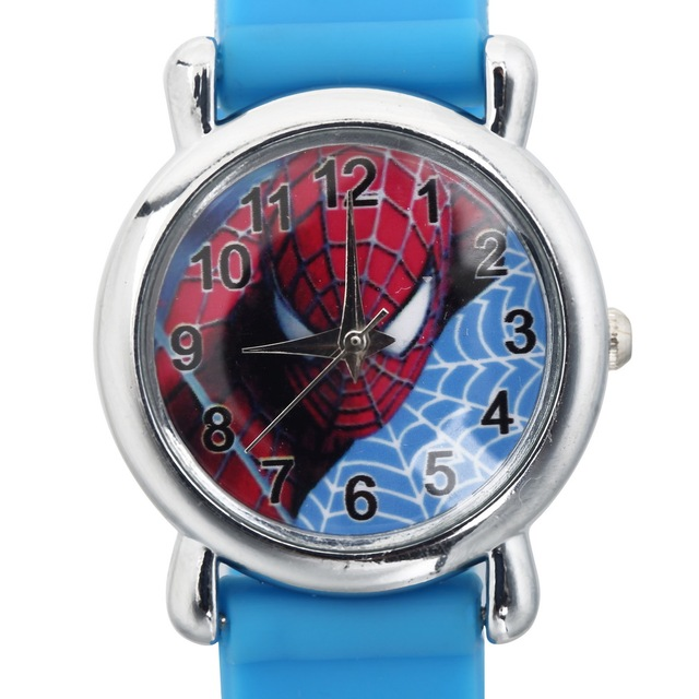3D Rubber Strap Children Watch Kids Spider Shape Fashion Quartz Blue Wristband B
