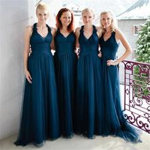 Halter Elegant Navy Blue Tulle Formal Long Bridesmaid Dresses 2017 Backless Pleat Women Wedding Party Gowns maid of honor BN127