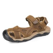 38-48 Plus Größe Männer Sandalen Aus Weichem Leder Sandalen Männer Sommer Stil Mode Braun Grün