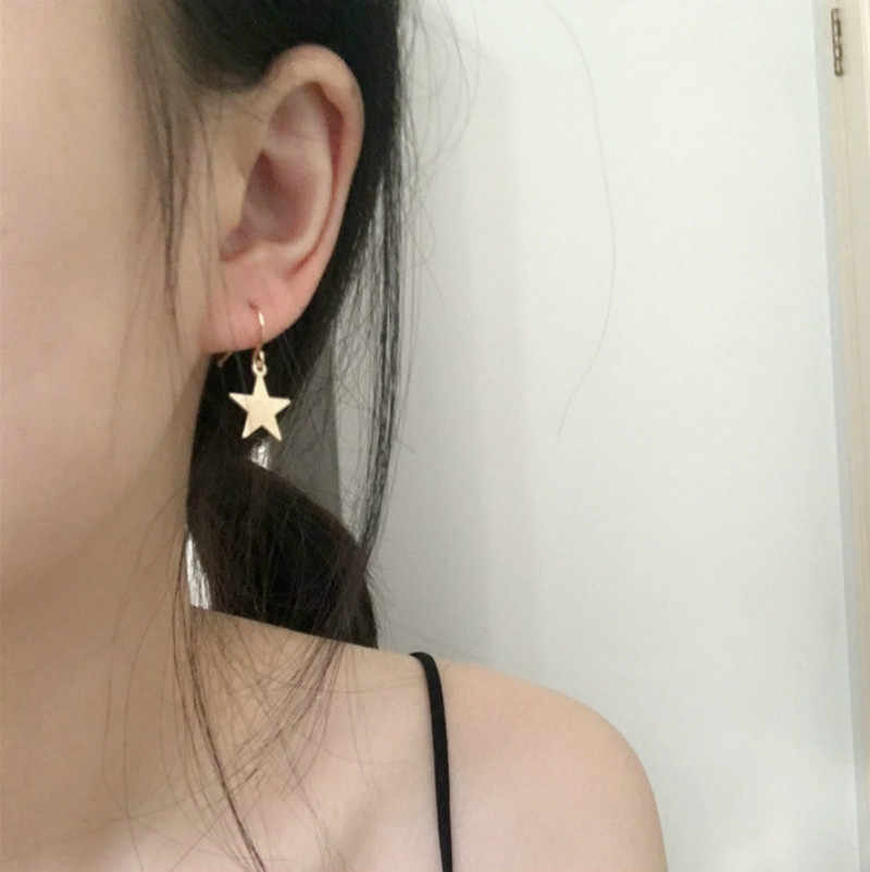 Baru Perhiasan Sederhana Liar Geometris Gadis Slice Lucu Emas dan Perak Paduan Lima Menunjuk Bintang Anting-Anting Fashion Perhiasan 2018