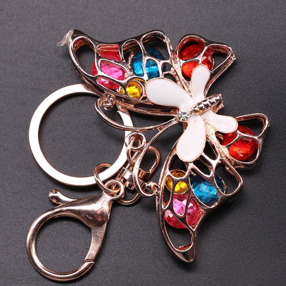 1 Pc Newest Multicolor Butterfly Rhinestone Crystal Purse Bag Keychain Handbag Pendant Keyring Jewelry Gifts