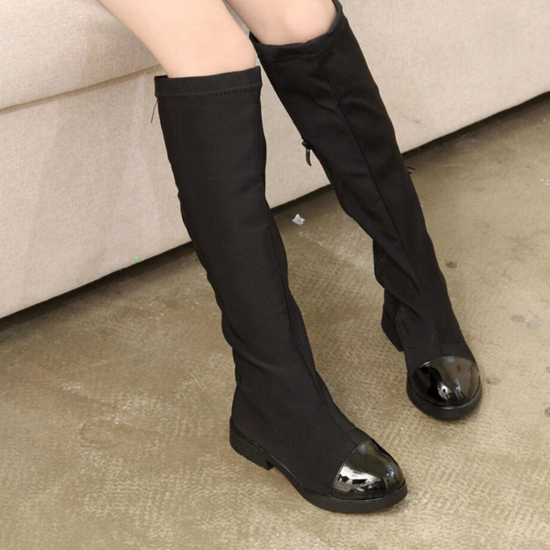 Hitam Lutut Tinggi Gadis boots 2018 Musim Gugur Baru Peregangan Kain Ritsleting Anak Sepatu Putri untuk gadis Ukuran 26-37 an ...