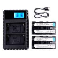2Pcs 2500mAh NP F570 NP F550 Batteries USB LED Dual Slot Quick Digital Battery Charger For