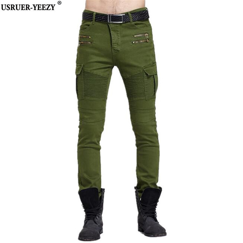USRUER YEEZY New 2017 Mens Army Green Biker Jeans Elastic Slim Skinny Pencil Jeans Men Black