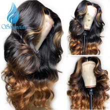SHD  13*6 Lace Front Wigs For Women Indian Body Wave with Middle Part Remy Human Hair 360 Frontal Bleached Knotes