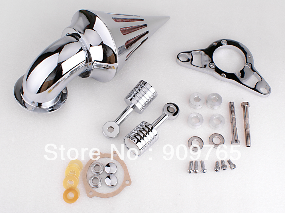 Free Shipping 1 Set Chrome Cone Spike Air Cleaner Filter Kit For Harley EFI Twin Cam Rocker Softail