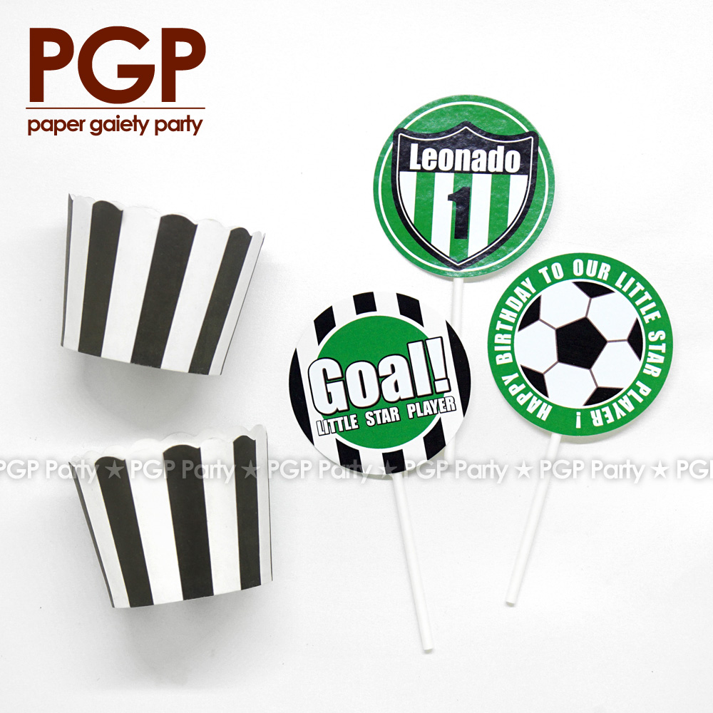 [PGP] Football Party set, Cake Cup Topper World League One boy 1st 2nd 3rd Birthday UEFA ...