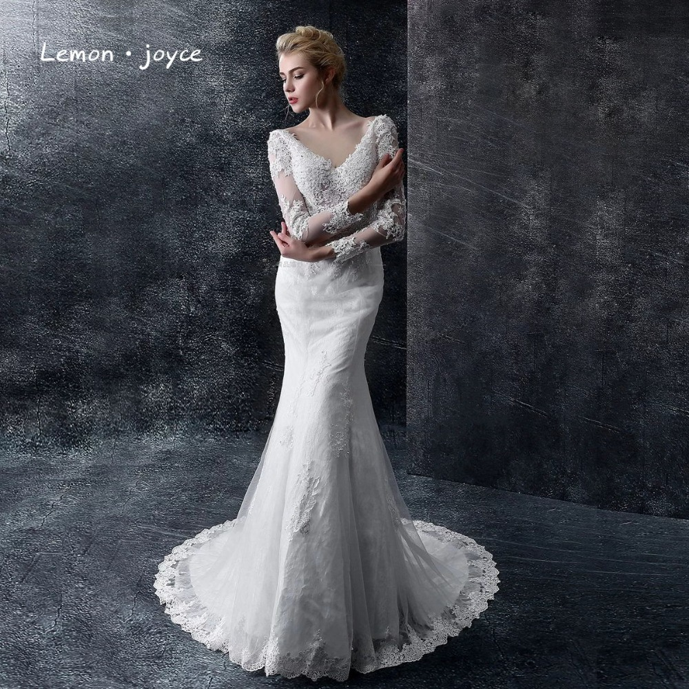 luxury wedding dresses 2016 new elegant v neck lace sexy backless bride married vintage long