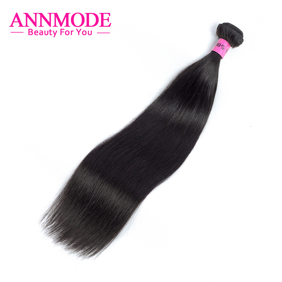 Annmode brasilianske Straight Hair Bundles Gratis forsendelse 1/3/4 stykker Ikke-remy Hair Extension 100% Human Hair Weave Bundles