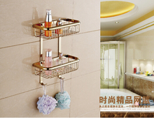 Высокое качество латунь золотой дубль уровни ванной угловые полки с крючок корзина держатель ванной ванна шампунь полка