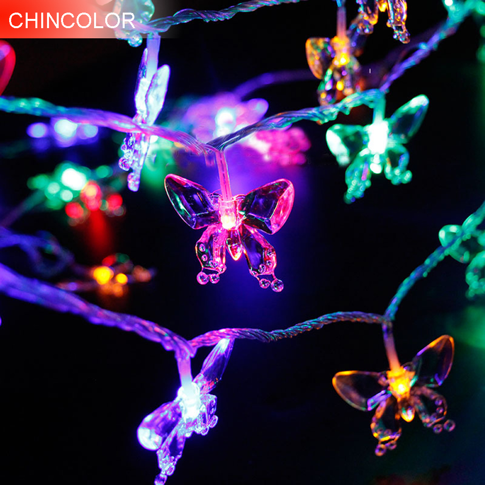 9-10m 52-100leds Holiday light Transparent butterfly Led Light string AC Plug Xmas Garland christmas fairy Wedding decoration DA
