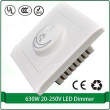 Rectificador de silicio controlado dimmer interruptor 110 V 220 v Max 630 W led de luz dimmer interruptor de pared dimmer