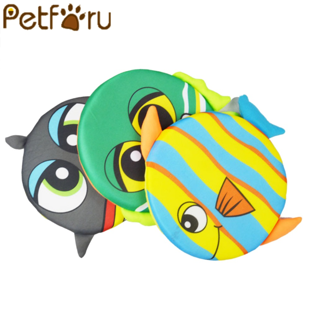 Petforu Pet Dog Cartoon Frisbee Flying Discs Soft Sponge Puppy Playing Chew Toys for Outdoor Training Dog Fetch Toy