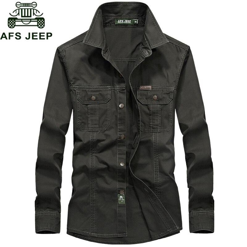 AFS JEEP Brand Army Military Shirt Men Breathable Long Sleeve Mens Shirts Cotton Dress Shirt Camisa Masculina Plus Size M-6XL