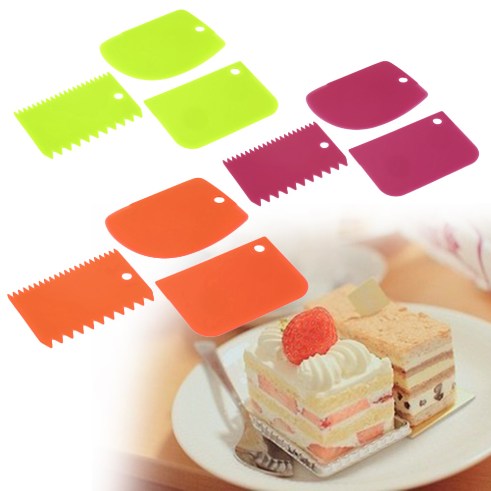 Cake Decorating Sugar Dough : 1set New 3x Plastic Dough Fondant Scraper Cake Decorating ...
