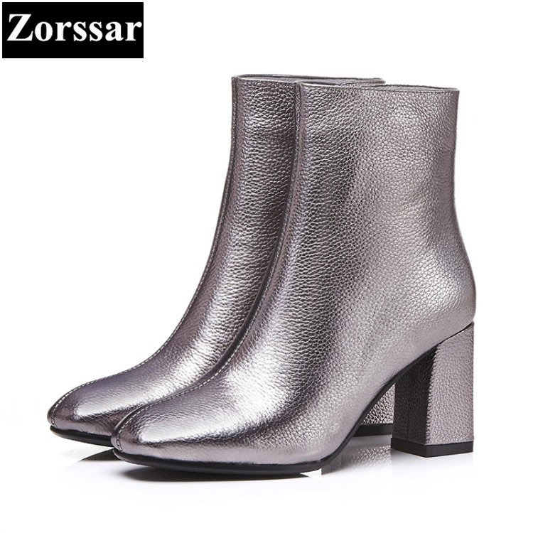 {Zorssar} 2018 NEW fashion thick heel short boots Genuine leather High heels platform women ankle boots Round Toe women shoes 100% genuine leather new arrival 2014 brand fashion boots vintage platform shoes short boots