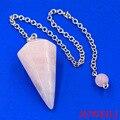 JUWEILI Jewelry Retail 1x Natural Stone Hexagon Pyramid Reiki Pendulum Pendant Chain Dowsing Hypnosis Wicca Witch Amulet Onyx
