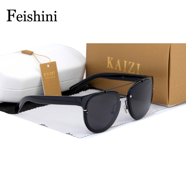 FEISHINI High Quality Black Round Sunglasses Women Brand Designer 2017 Avant-garde Gradient Steampunk Sunglass Men Redondo COOL