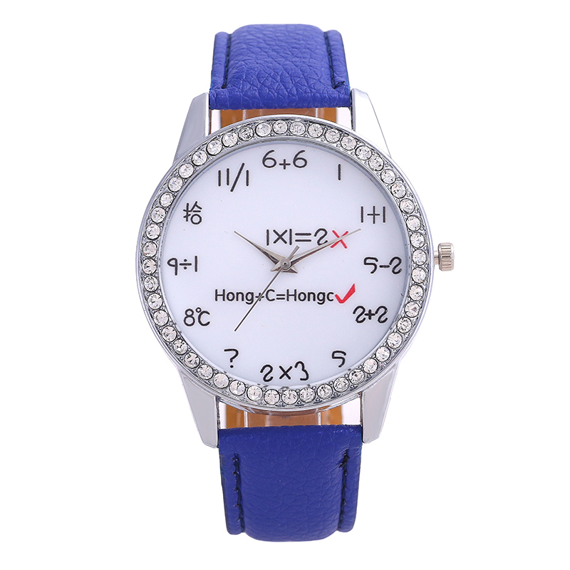 Fashion Leisure Women Watches Brand Ladies Leather Watch Diamonds Mathematical Formula Pointer Dial Solid Color Men Watch