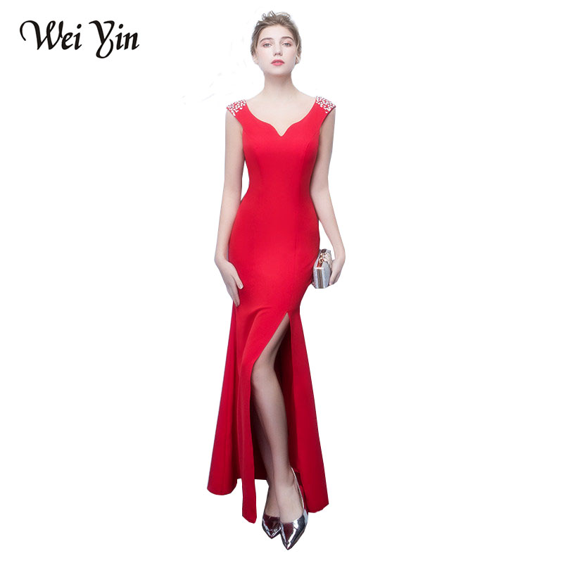 WeiYin Sexy Double V Neck Black Mermaid Evening Dress Abendkleider Luxury Beading Women Formal Dress Satin Evening Prom Gown ...