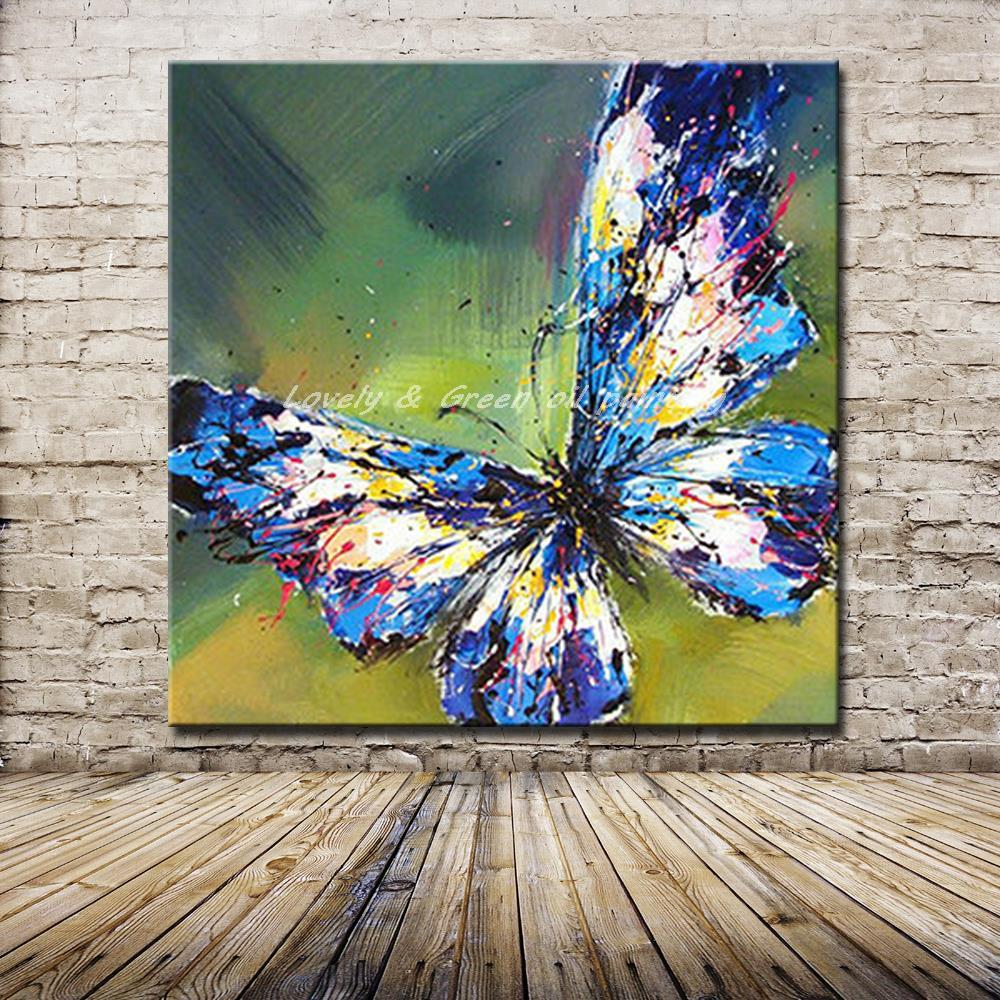 Handgemachte Abstrakte Entzuckende Blau Schmetterling Kunst