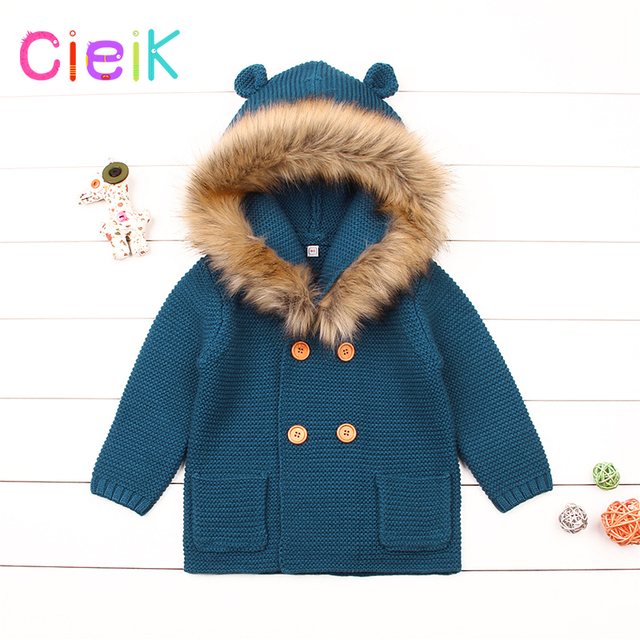 56eb93e68 CieiK Infant Fur Hooded Coat Baby Knitted Sweaters Newborn Boys ...