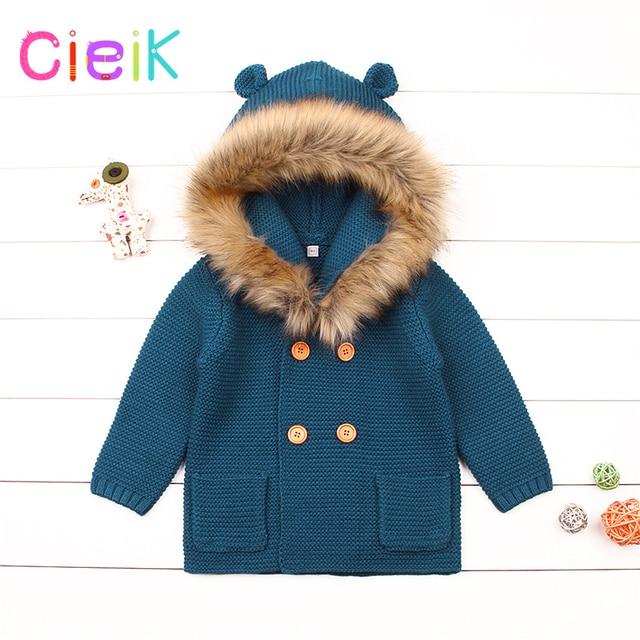 d08d9606d CieiK Infant Fur Hooded Coat Baby Knitted Sweaters Newborn Boys ...