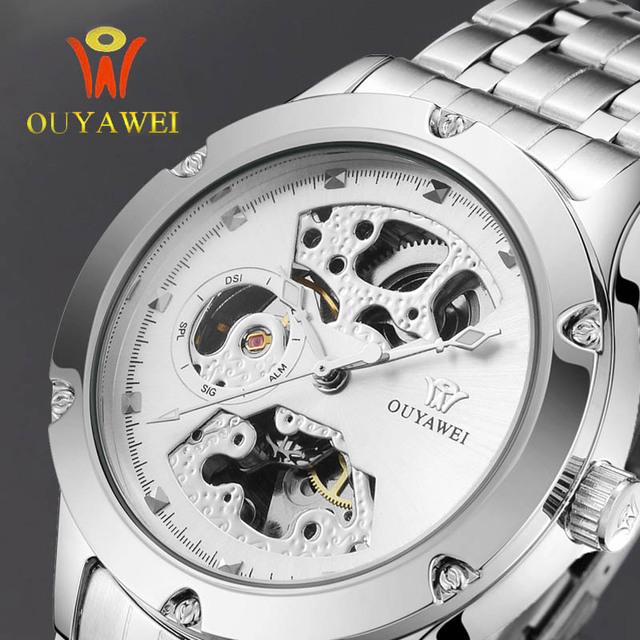 Novos Homens OUYAWEI Esqueleto de Prata do Relógio Analógico Homens Mecânico Automático relógio de Pulso Banda de Aço Assistir À Prova D' Água Relogio masculino Cloc