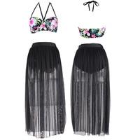Plus Large Size Mesh Bikinis Swimsuit Skirt Long Dress High Waist 4xl Sexy Womens Swimwear Summer