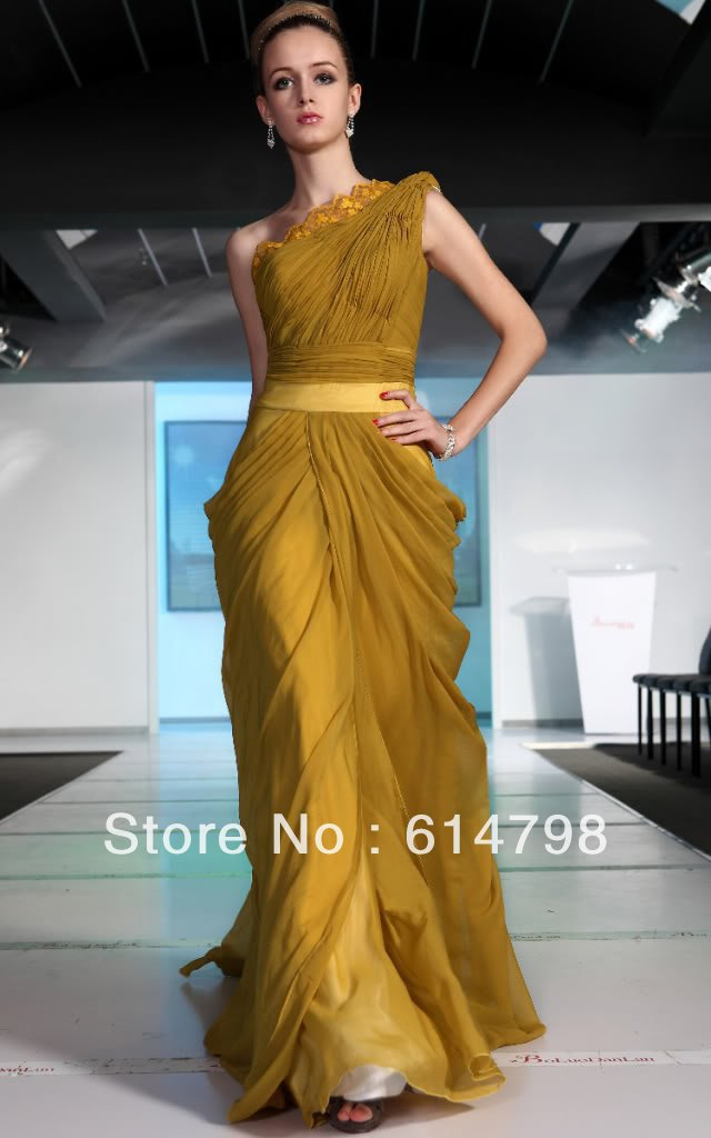 Hot Sale Latest Yellow New One Shoulder Pleat Ruffles Floor Length