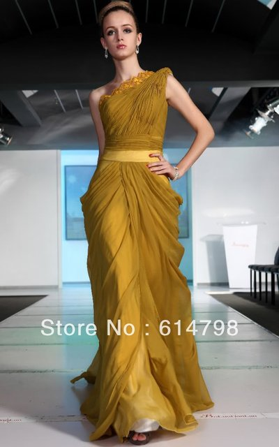 Hot Sale Latest Yellow New One Shoulder Pleat Ruffles Floor Length ...