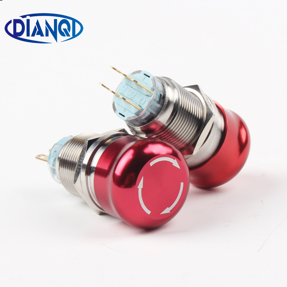 19mm 22mm Metal aluminum Emergency stop switch Push Button Switch latching Car press button pin terminal 2NO 2NC Normal open