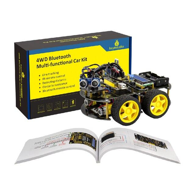Keyestudio 4WD Bluetooth multi fonctionnel bricolage voiture intelligente pour Arduino Robot éducation programmation + manuel dutilisation + PDF (en ligne) + vidéo