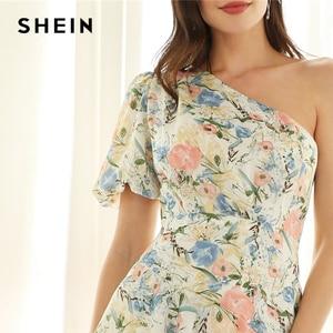 Image 5 - SHEIN glamour multicolore une épaule à volants asymétrique Dip ourlet Floral manches bouffantes robe crayon 2019 robes de printemps