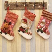 3pcs Lot Newest 48cm Santa Claus Snowman Christmas Stocking Pendant Festival Xmas Candy Sacks Christmas Decorations