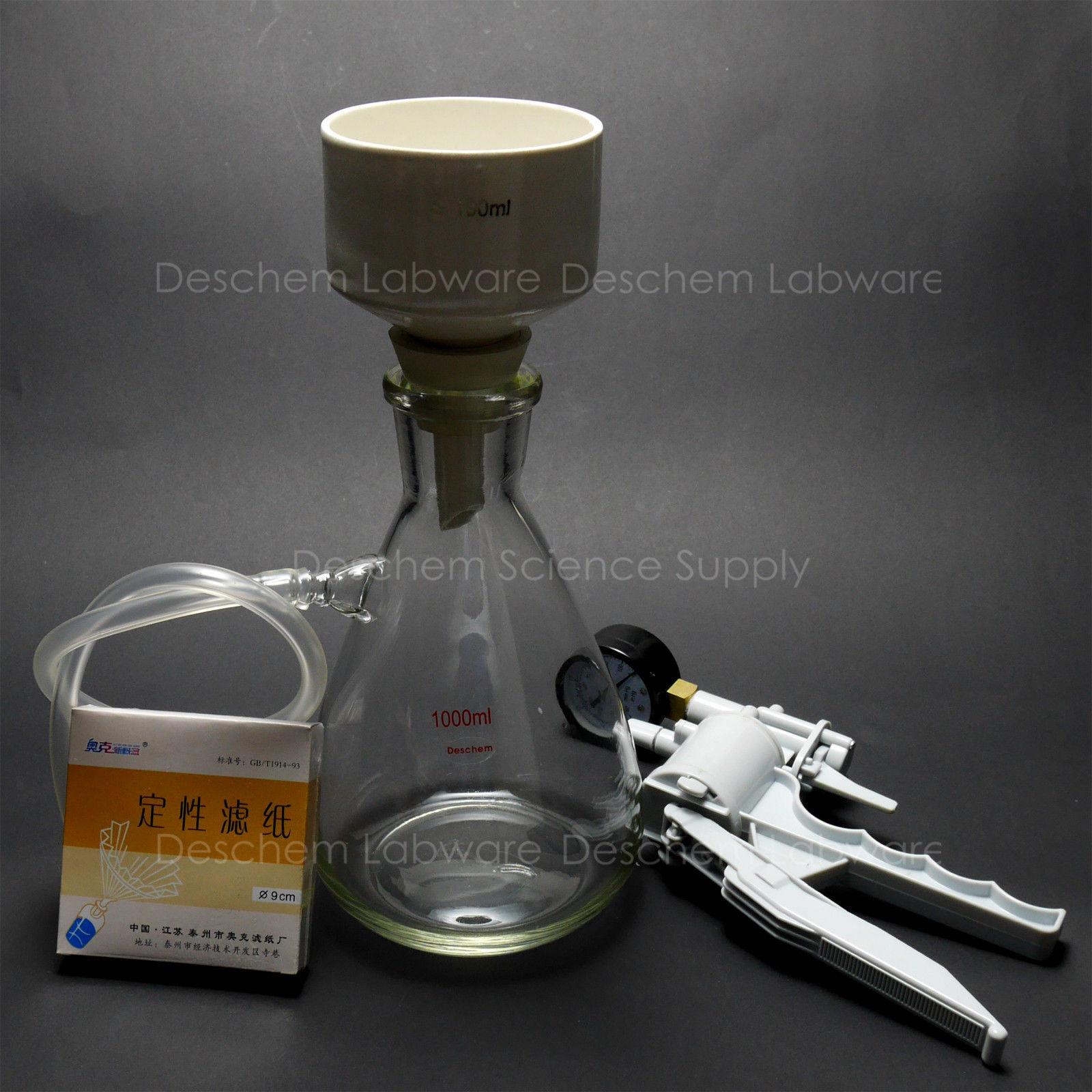 1000ml Filtration Buchner Funnel Kit Suction Flask Handle Vacuum Pump Filter Pap